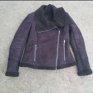 New York & Company shearling moto coat brown XS